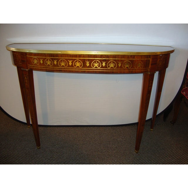 Boulle Inlaid Demi Lune Console Serving Table For Sale