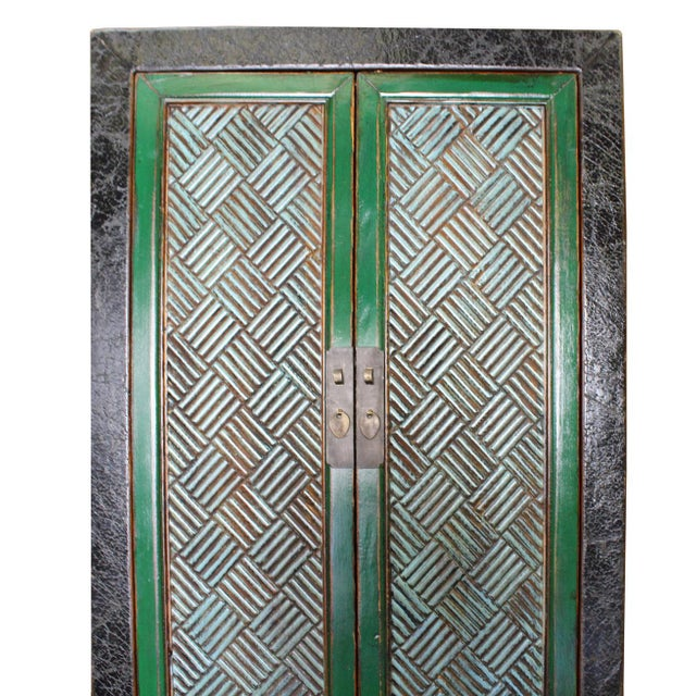 Asian Chinese Distressed Green Blue Armoire For Sale - Image 3 of 6