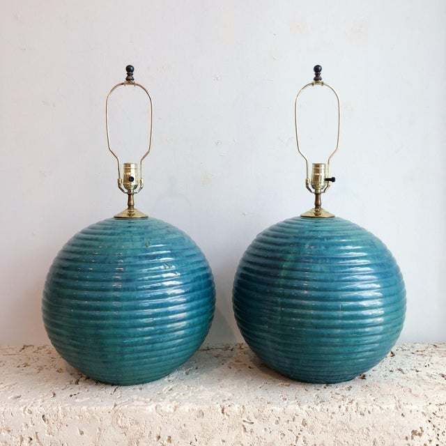 Vintage Teal Round Glazed Terra Cotta Lamps - a Pair For Sale - Image 10 of 10