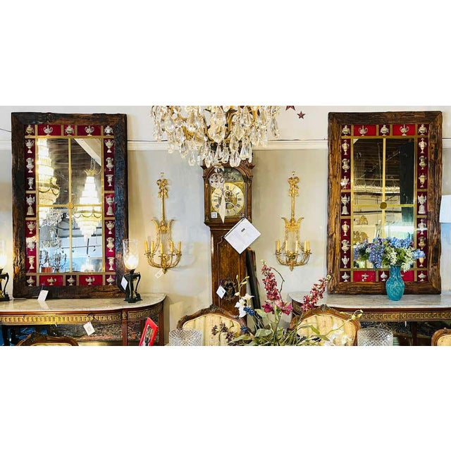 Glass Rustic Italian Wall Mirror With Reverse Painted Classical Vases and Urns For Sale - Image 7 of 13