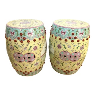 Early 20th Century Chinese Famille Rose Porcelain Garden Seats Stools- A Pair For Sale