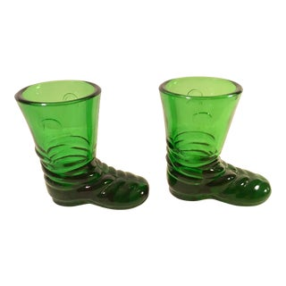 Mid-Century Green Glass Boot Shot Glasses - A Pair For Sale