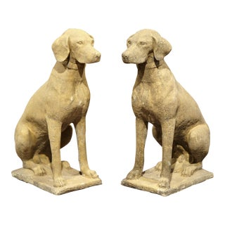 Large Pair of French Concrete Verdigris Patinated Labrador Dog Sculptures