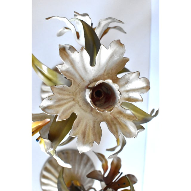 Vintage Italian Tole Lilies Flowers Painted Tole Candle Holders - a Pair For Sale - Image 9 of 10