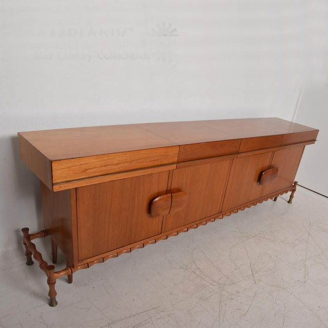Brass Midcentury Mexican Modernist Floating Bamboo Credenza, Frank Kyle, 1960s For Sale - Image 7 of 12