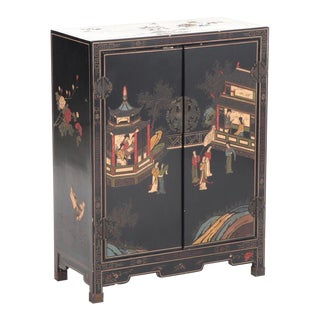 20th Century Chinoiserie Black Lacquer Cabinet For Sale