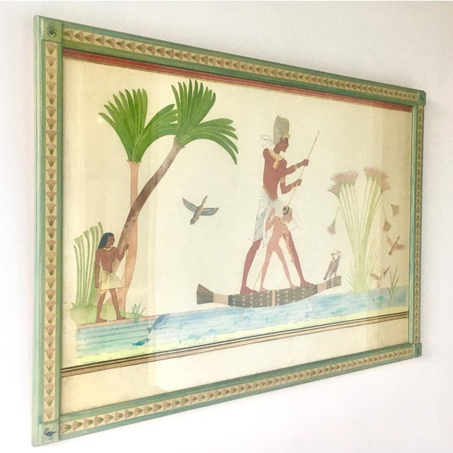 Naive Framed Watercolour Painting on paper of an Ancient Egyptian Fishing Scene Embellished with rich gold and red threads