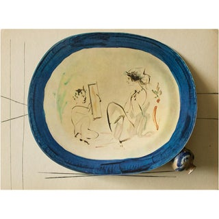 1955 After Pablo Picasso Satyr and Young Woman Ceramic Plate, Original Period Swiss Lithograph For Sale
