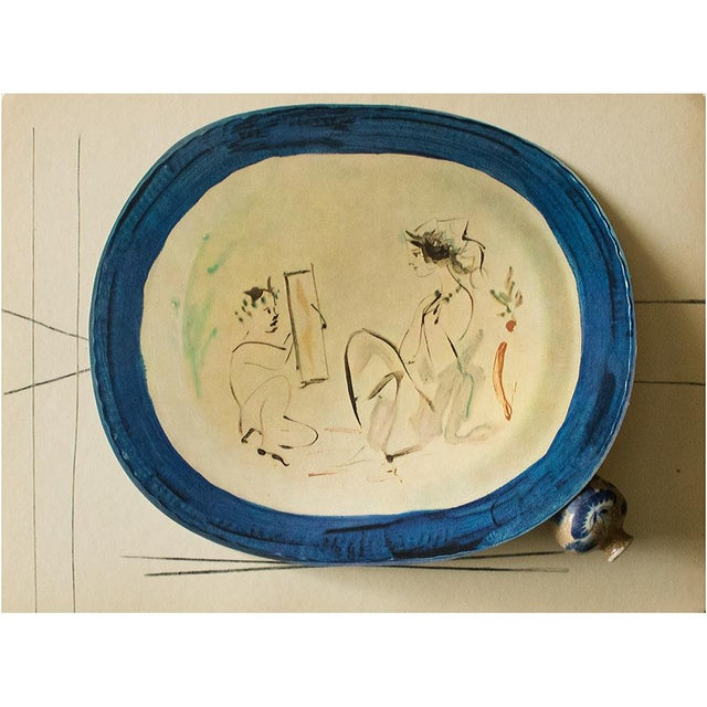 A rare exquisite original period offset lithograph of ceramic plate or charger by Pablo Picasso, depicting Satyr holding a...