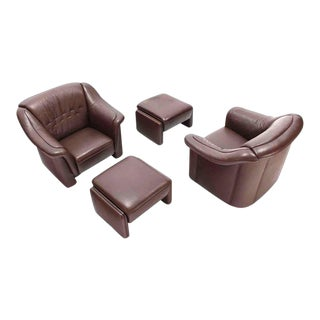 Early 20th Century Brown Leather Lounge Chairs & Ottomans- 4 Pieces For Sale