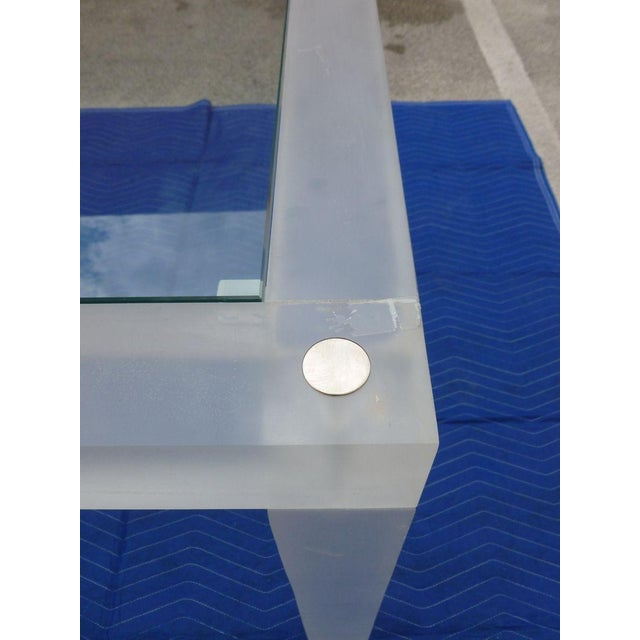 Glass 1970s Vintage Space Age Lucite Card Table For Sale - Image 7 of 12
