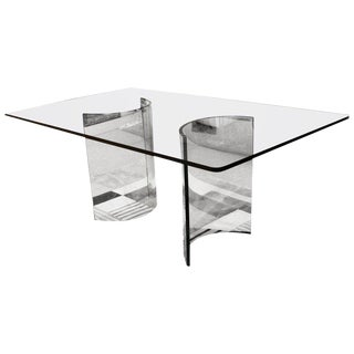 1970s Mid-Century Modern Sculptural Rectangular Glass Dining Table Pace For Sale
