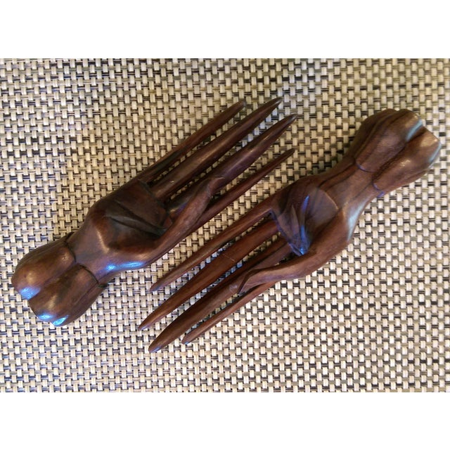Carved Wooden Hand Sculptures - A Pair - Image 7 of 7