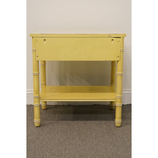Cream Vintage Thomasville Furniture Allegro Collection Asian Faux Bamboo Nightstand For Sale - Image 8 of 11