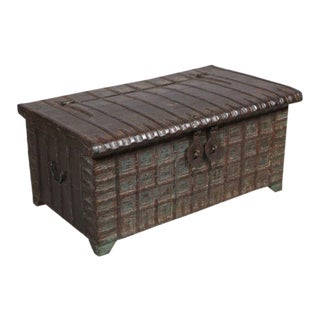 Antique Anglo-Indian Teak Wood Chest With Iron Clad Front and Top Strappings For Sale