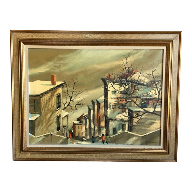 "Robert Fabe ""View From the Steps"" Tempera on Canvas Painting For Sale"