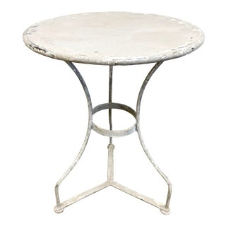 Vintage Gray Painted Metal Side Accent Table For Sale
