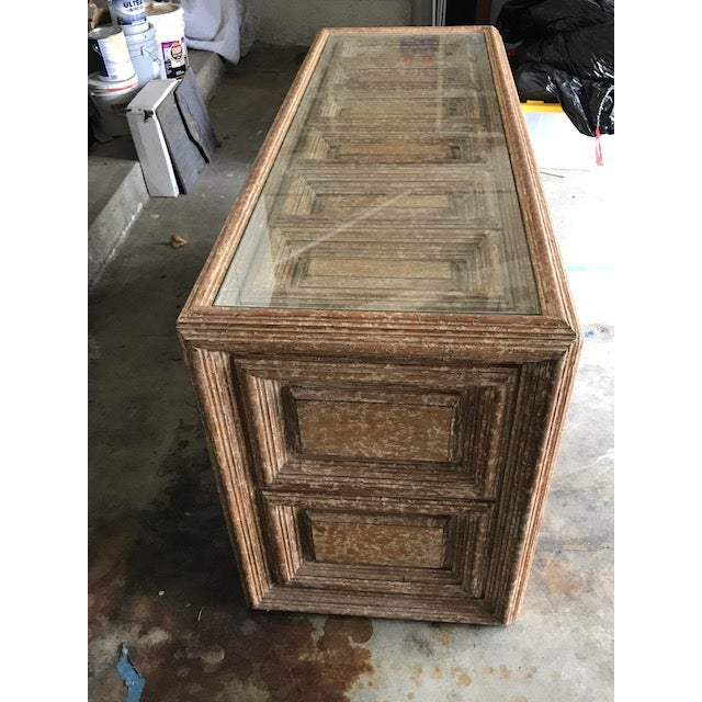 Kreiss Distressed Wood Glass Top Credenza - Image 3 of 4