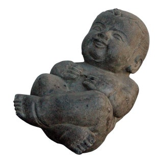 Chinese Oriental Stone Sleeping Baby Kid Figure