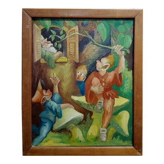 Jack and the Beanstalk- Original 1930s Oil painting For Sale