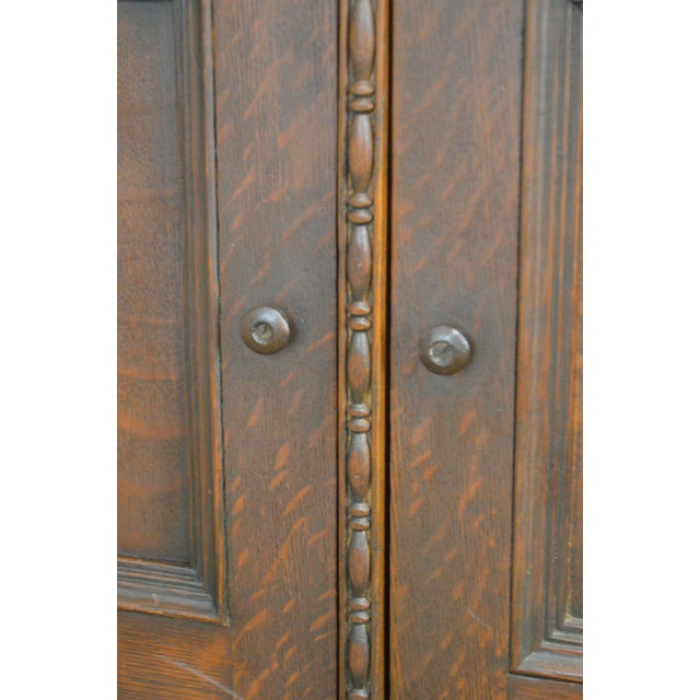 Antique Miniature Victorian Oak 2 Door Bookcase Cabinet For Sale - Image 10 of 13