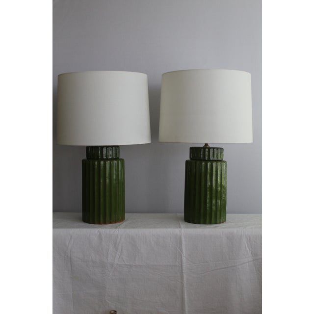 Mid 20th Century Transitional Style Ceramic Table Lamps - a Pair For Sale - Image 5 of 10