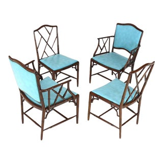 1970s Vintage Faux Bamboo Mahogany Dining Side Chairs- Set of 4 For Sale