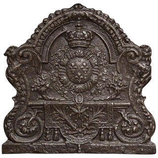 Mid-19th Century Iron Fireback With French Royal Coat of Arms and Fleurs-De-Lys For Sale