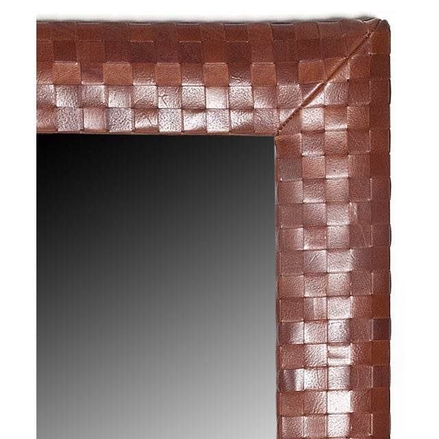"""Basket Weave Luggage Italian Leather Mirror • 1 ¼"""" Beveled Mirror • 4"""" wide leather frame • Hand-stitched corners •..."""
