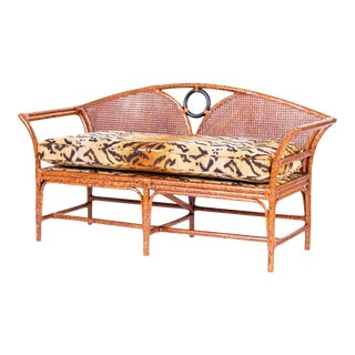 Midcentury British Colonial Style Faux Tortoise Settee or Sofa For Sale