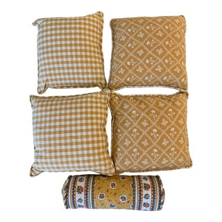 Yellow Pierre Deux Cushions - Set of 5 For Sale