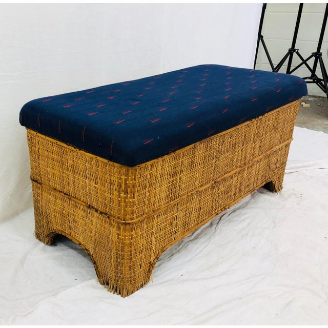 Antique Woven Bamboo Blanket Bench For Sale - Image 10 of 10