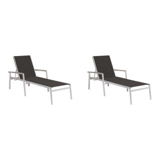 Outdoor Sling Chaise Lounge, Vintage and Black (Set of 2) For Sale