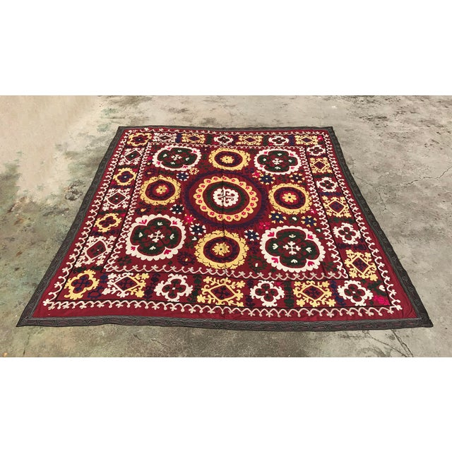 Antique handmade suzani dark red tapestry makes a great square table cloth and is also suitable for wall hanging. * Size...