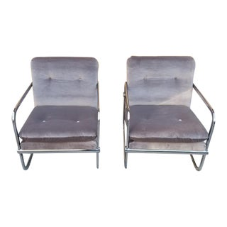 Mid Century Modern Chrome Base Chairs Newly Upholstered - Pair For Sale