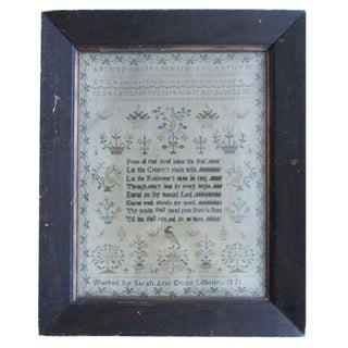 Antique Needlework Sampler Alphabet Verse Schoolgirl Signed Dated 1811 For Sale