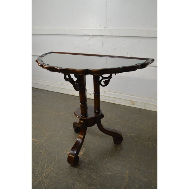 William IV/Regency Solid Mahogany Scalloped Top Demilune Pedestal Side Table For Sale - Image 12 of 13