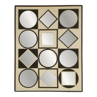 Op Art Mirror Geometric Black and White 1970s For Sale