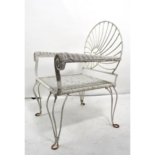 Wicker Nautilus Shell Back Arm Lounge Chair For Sale - Image 7 of 12