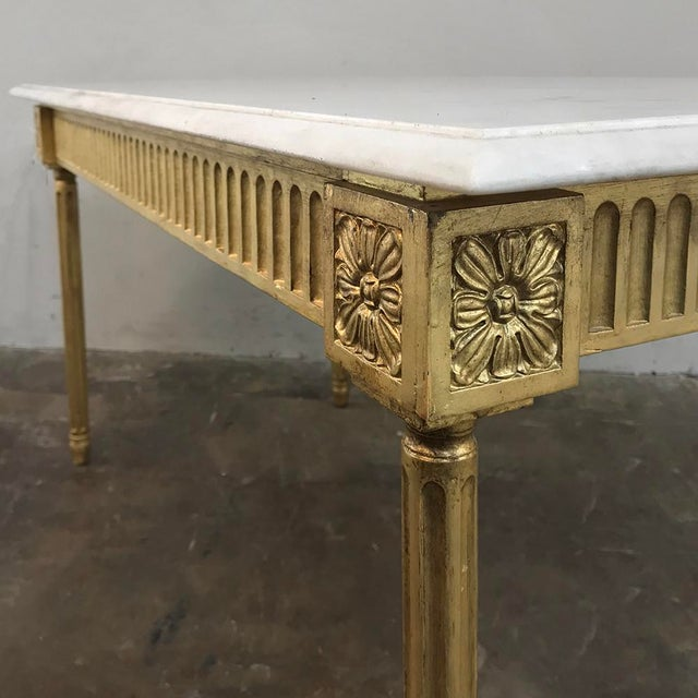 White Antique French Louis XVI Gilded Marble Top Coffee Table For Sale - Image 8 of 11