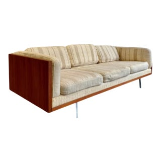 Danish Mid Century Modern Teak Case Sofa / Couch by Komfort, Made in Denmark For Sale