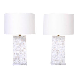 Midcentury Mother of Pearl Table Lamps - A Pair For Sale