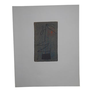 """Rare Vintage Mid 19th C. Abstract Ltd. Ed. Lithograph-Joan Miro-Signed-""""Femme""""-Elephant Folio For Sale"""