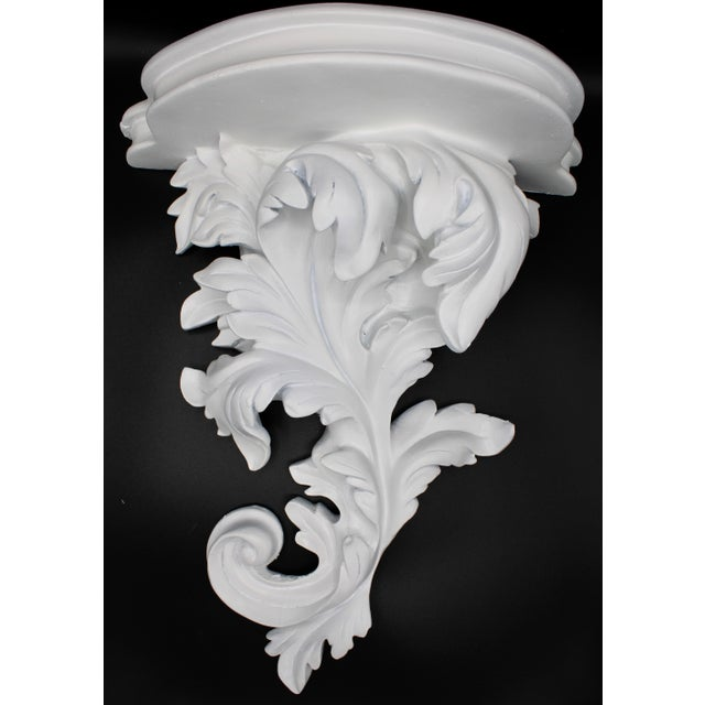 Large White Acanthus Leaf Wall Shelf For Sale - Image 4 of 12