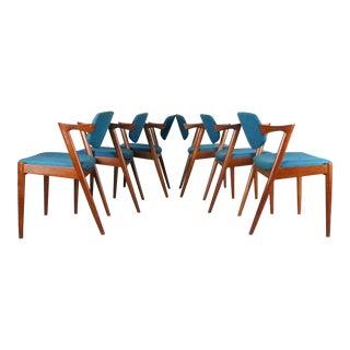 Kai Kristiansen Blue Upholstered Teak Chairs - Set of 6