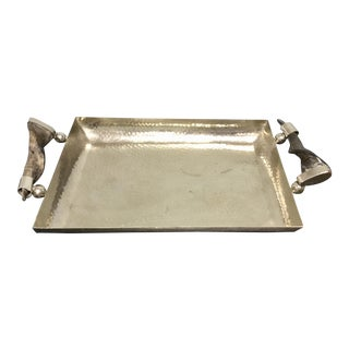 Late 20th Century Metal Tray With Twisted Horn Handles For Sale
