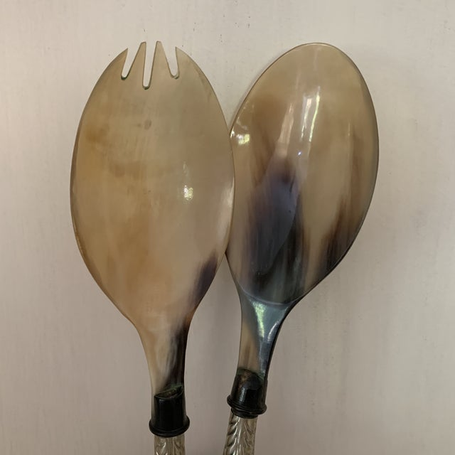 Mid-Century Modern Modern Silver and Shell Salad Serving Spoons - a Pair For Sale - Image 3 of 5