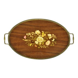 Vintage Italian Florentine Wood Floral Inlaid Oval Serving Platter Tray For Sale