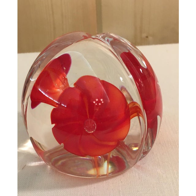 Art Glass Red Orange Flower Paperweight - Image 2 of 7