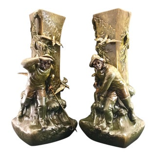 Early 20th Century Vintage French Bronzed and Patinated Metal Art Nouveau Figural Vases / Urns - a Pair For Sale